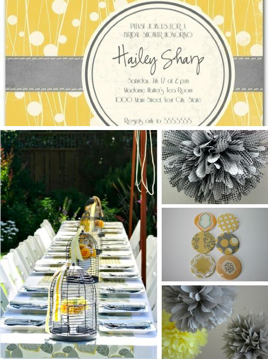 inspiration board yellow and gray baby shower modern hostess